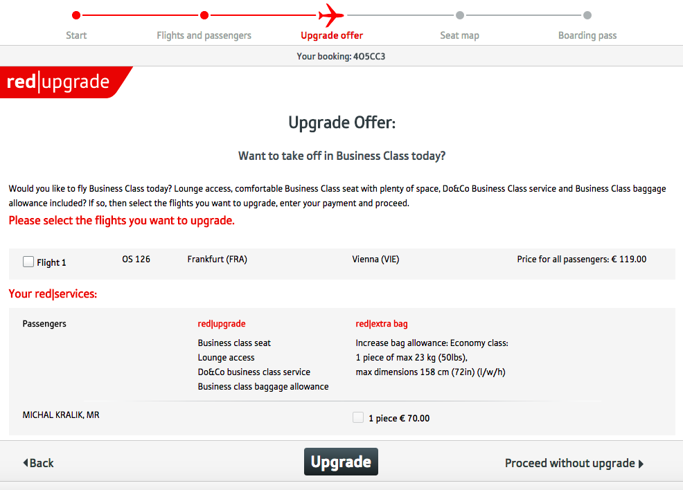 Web Check in Austrian Airlines - krok 2