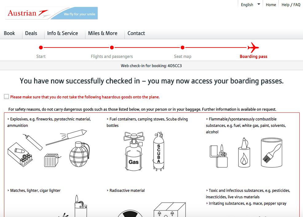 Web Check in Austrian Airlines - krok 5