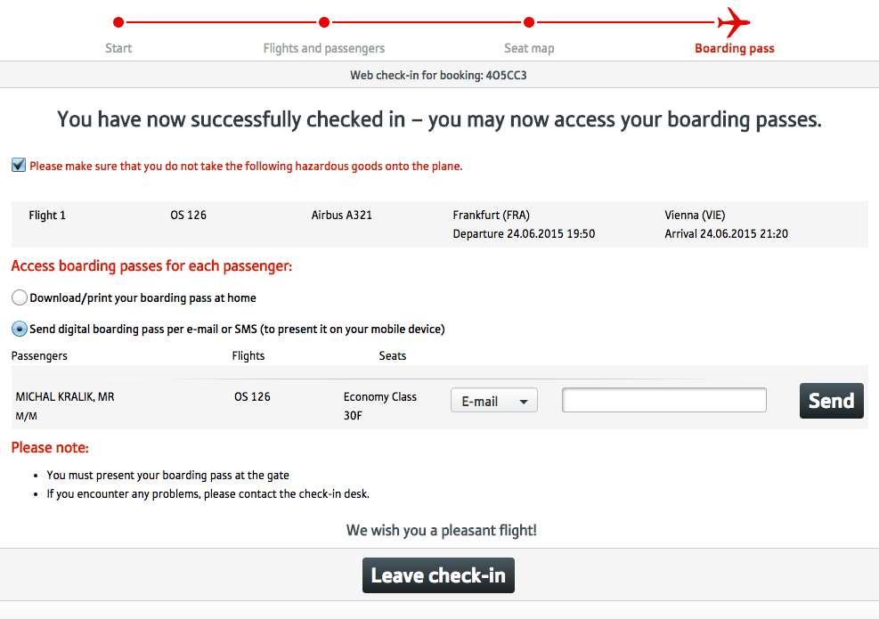 Web Check in Austrian Airlines - krok 6