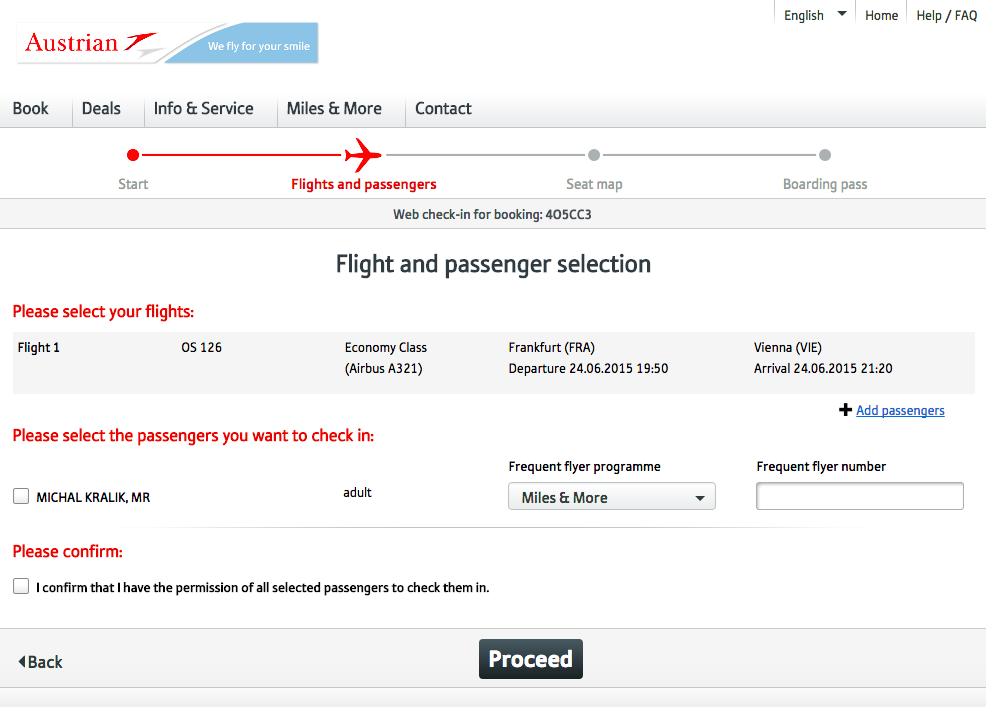 Web Check in Austrian Airlines - krok 1