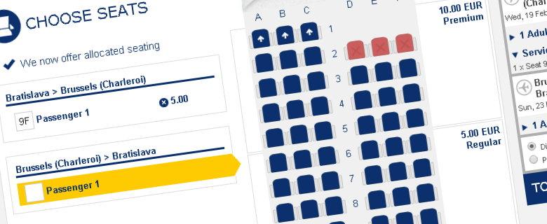 Výber sedadla pri rezervácii letu Ryanair