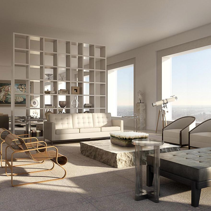 Penthouse v 432 Park Avenue - Obývacia izba