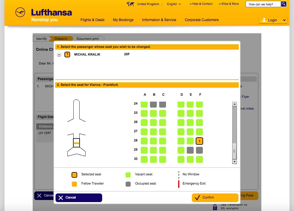 Lufthansa Online Check-in - Krok 2