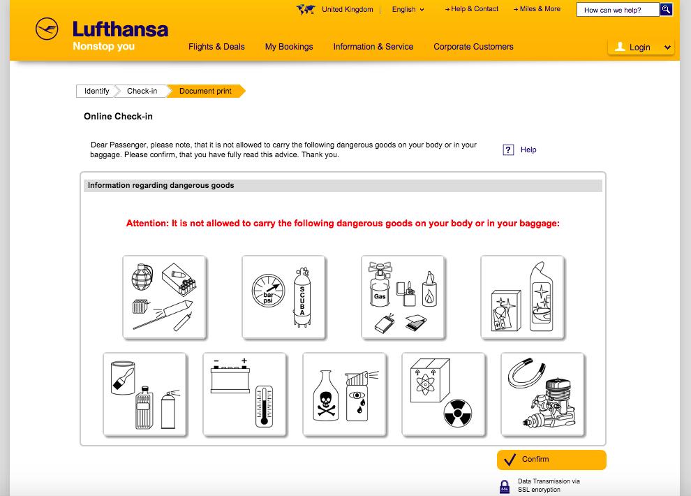 Lufthansa Online Check-in - Krok 3