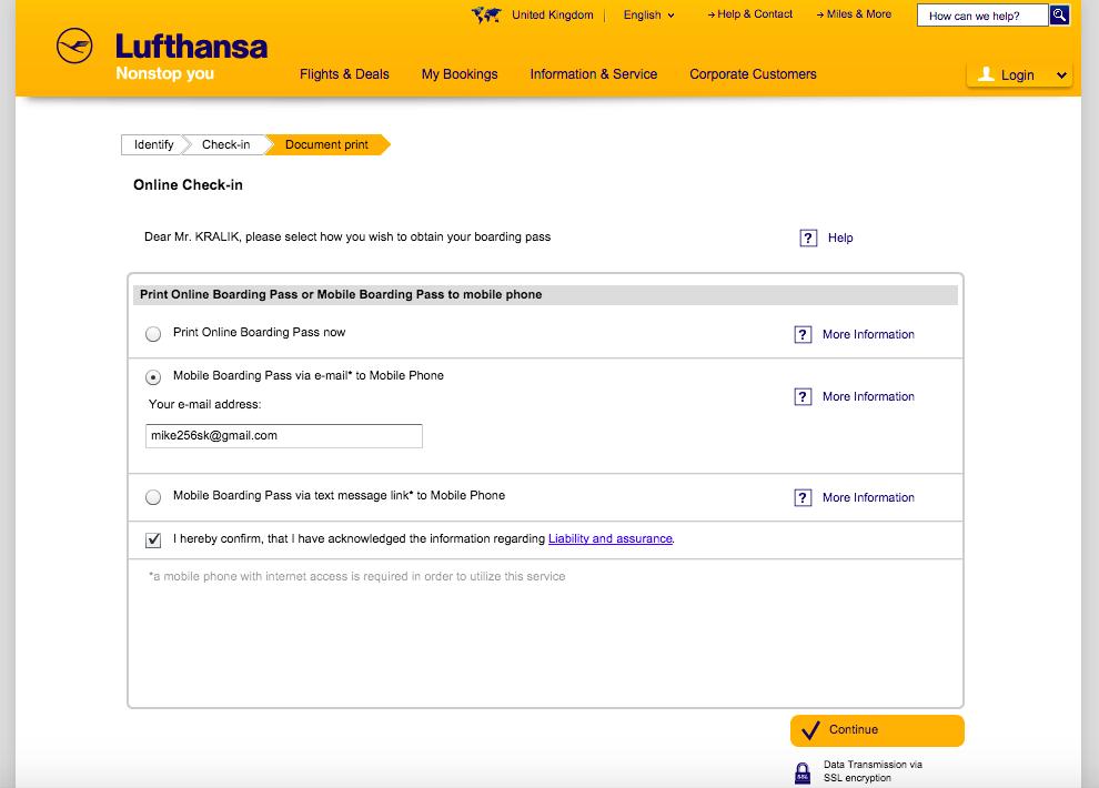 Lufthansa Online Check-in - Krok 4