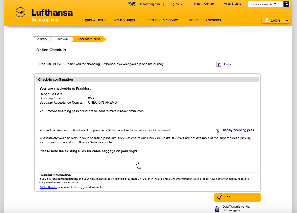 Lufthansa Online Check-in - Krok 5