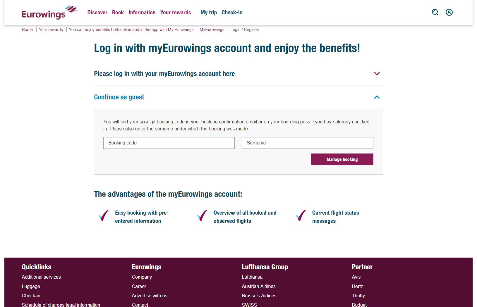 Eurowings Check-in – Prihlásenie