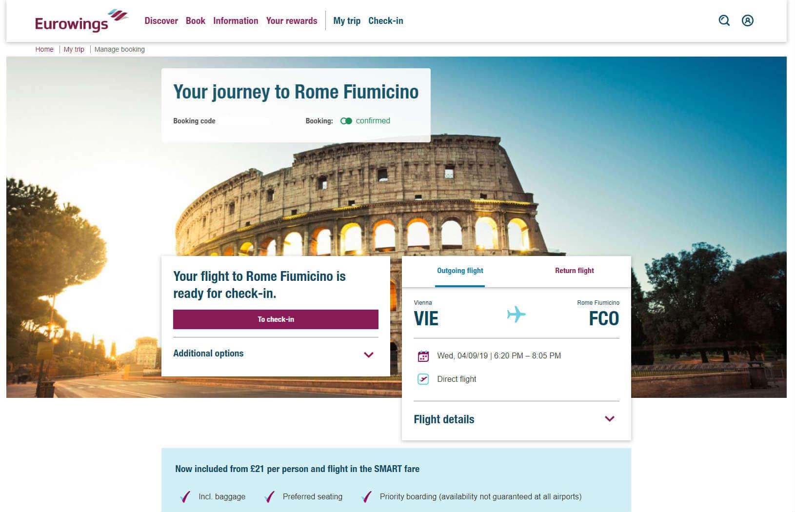 Eurowings Check-in – Informácie o lete
