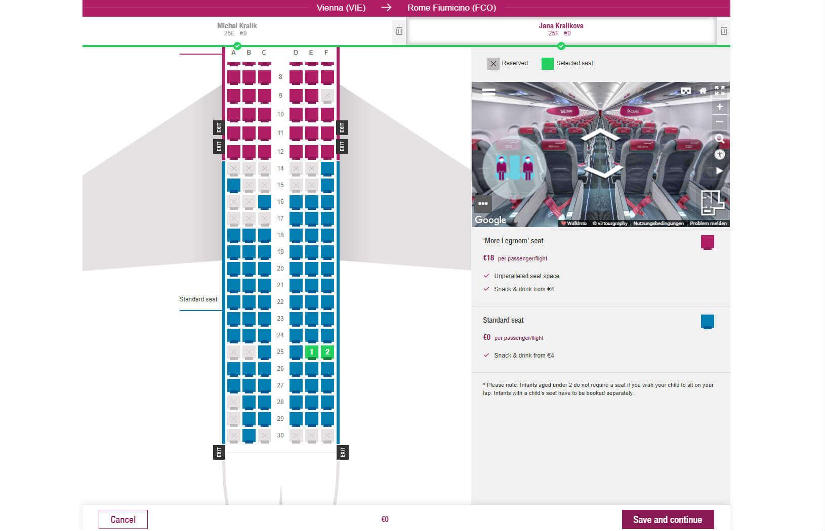 Eurowings Check-in – Výber sedadla