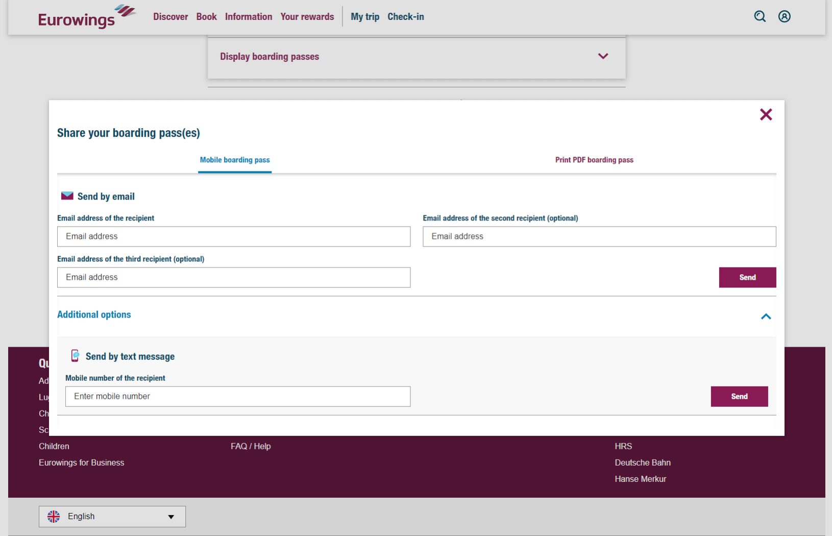 Eurowings Check-in – Zaslanie palubnej vstupenky