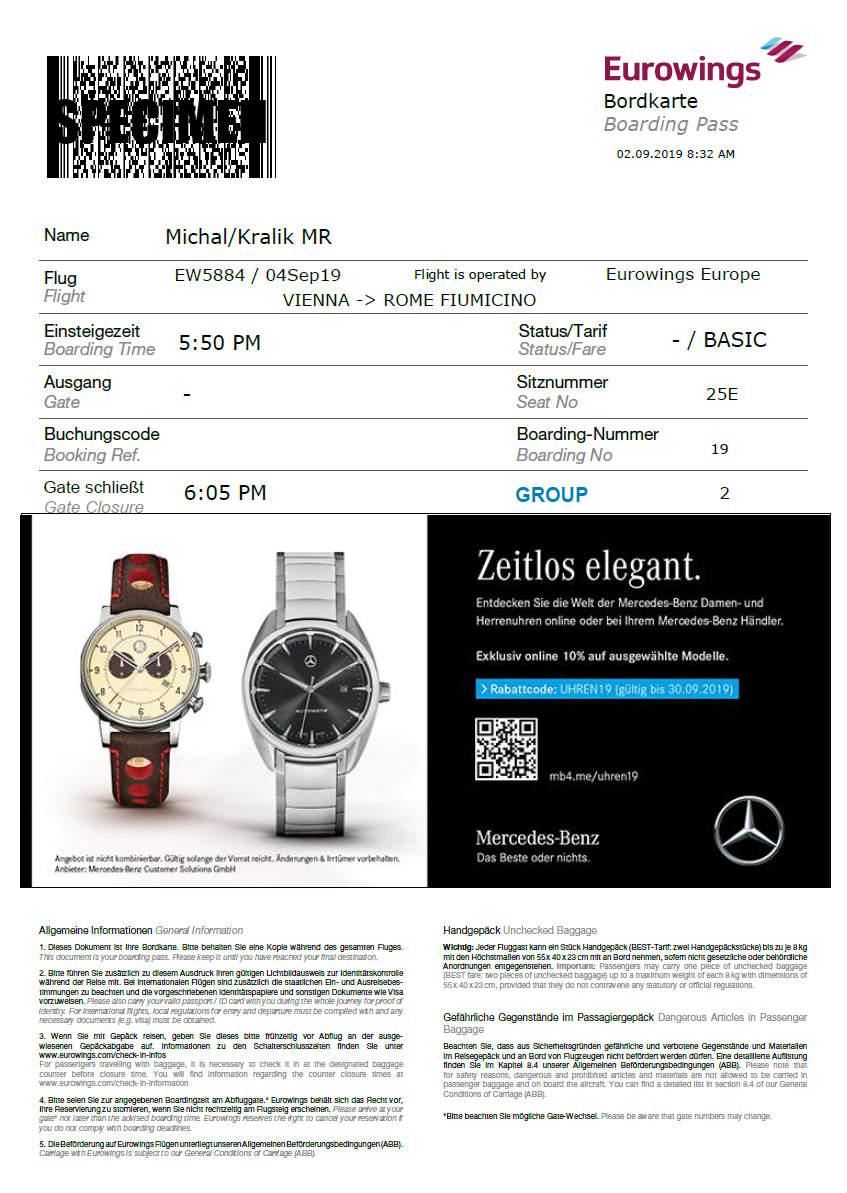Eurowings Check-in – Palubná vstupenka